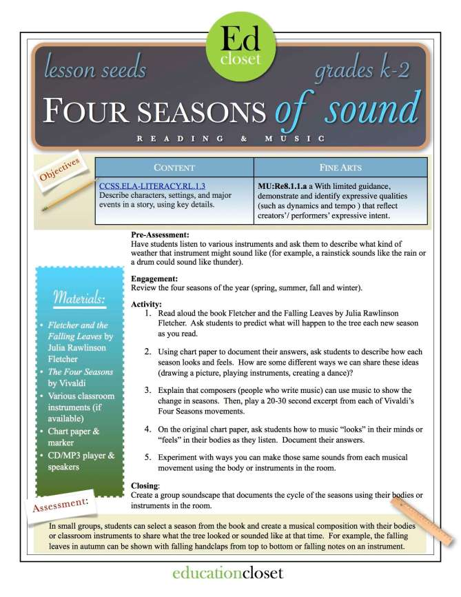 four seasons of sound lesson