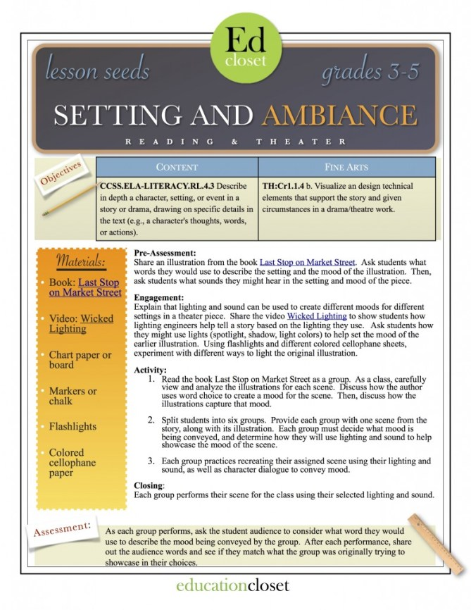 SETTING AND AMBIANCE LESSON