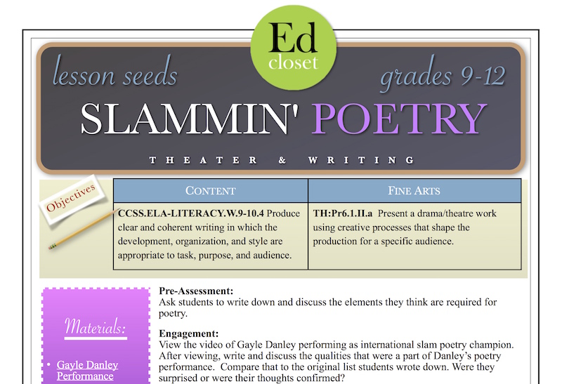 slammin 39 poetry high school arts integration lesson educationcloset. Black Bedroom Furniture Sets. Home Design Ideas