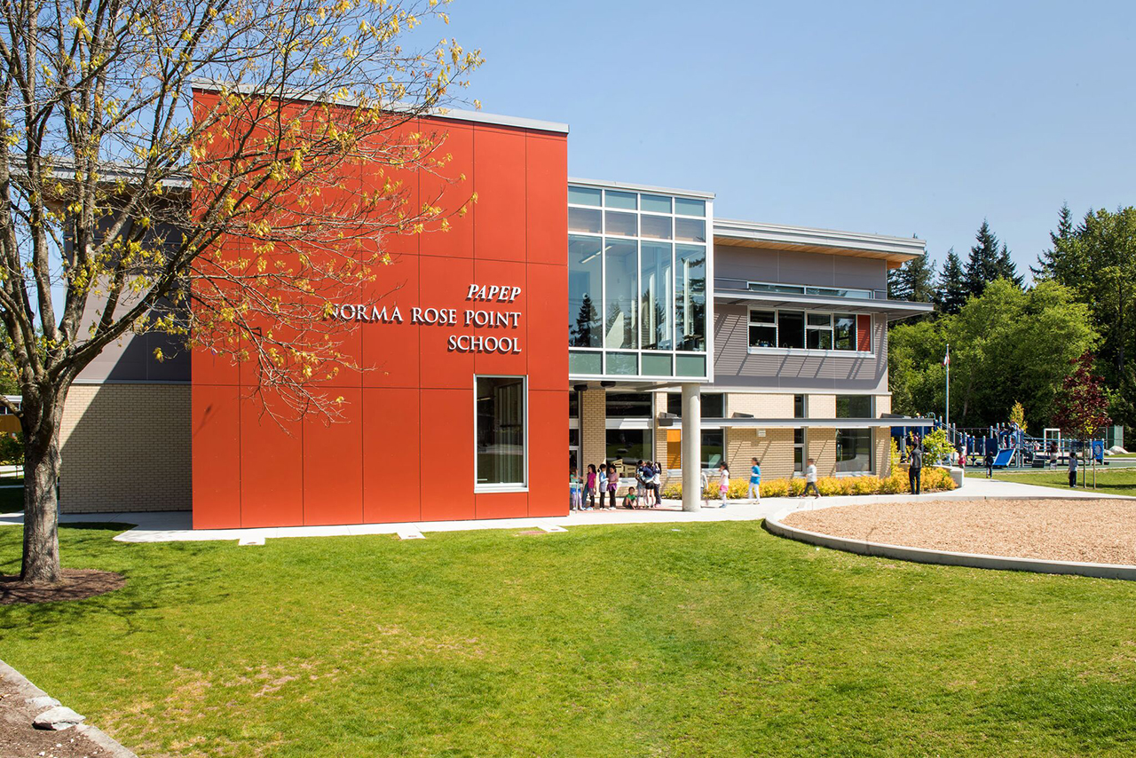 School Architecture Design for Norma Rose Point School, Vancouver BC, Canada by Fielding Nair International