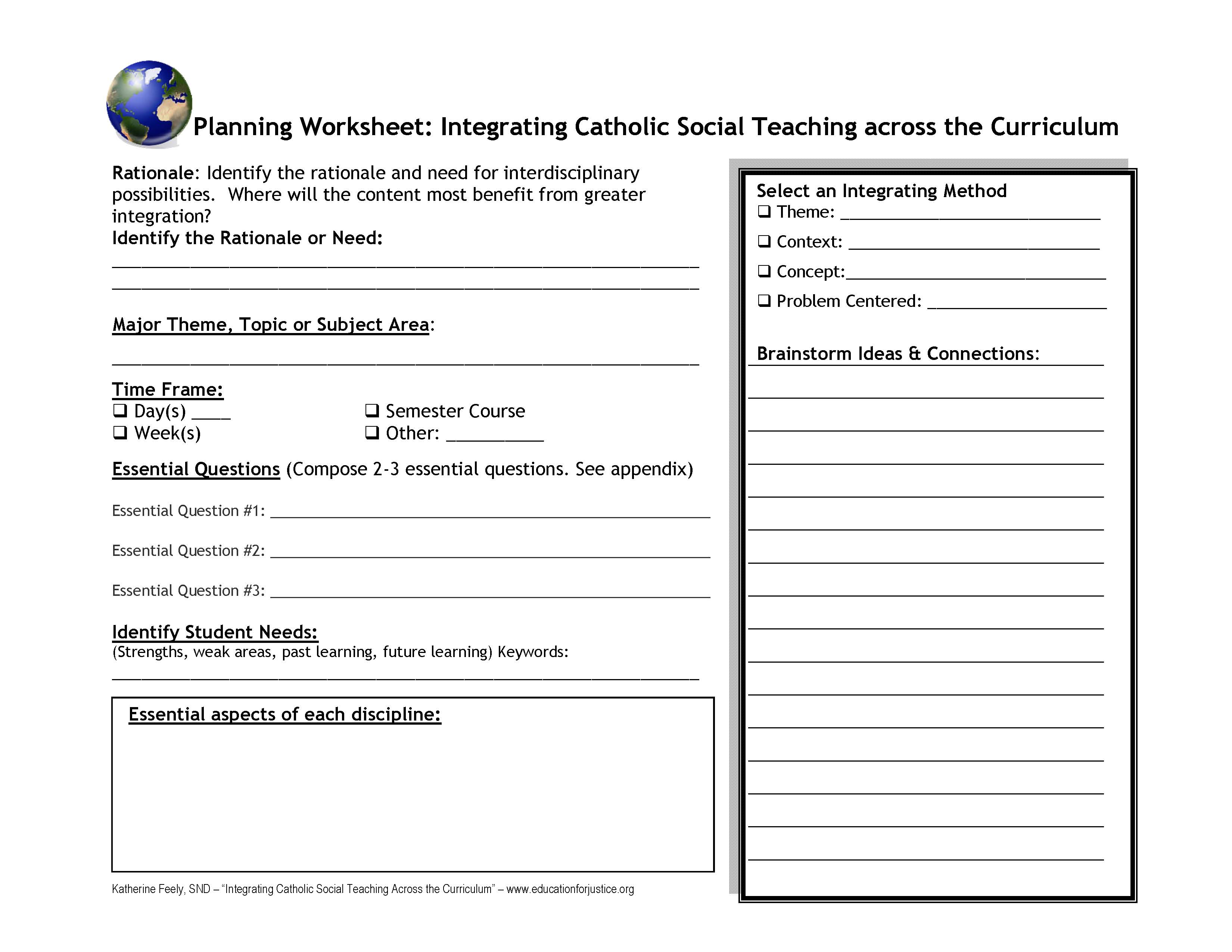 Planning Worksheet For Integrating Catholic Social Teaching Across The Curriculum