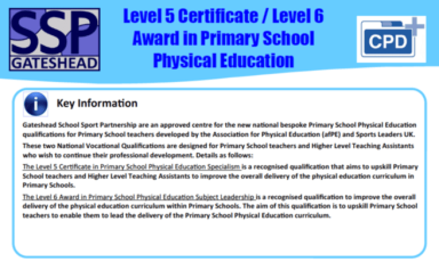 Level 5 Certificate / Level 6 Award in Primary School Physical Education