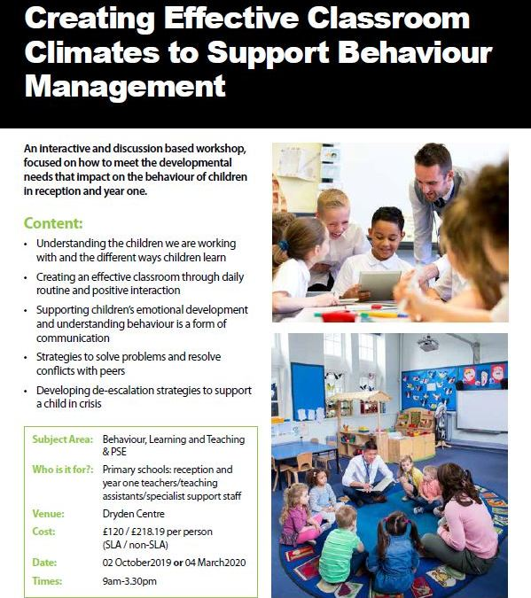 Creating Effective Classroom Climates to Support Behaviour Management
