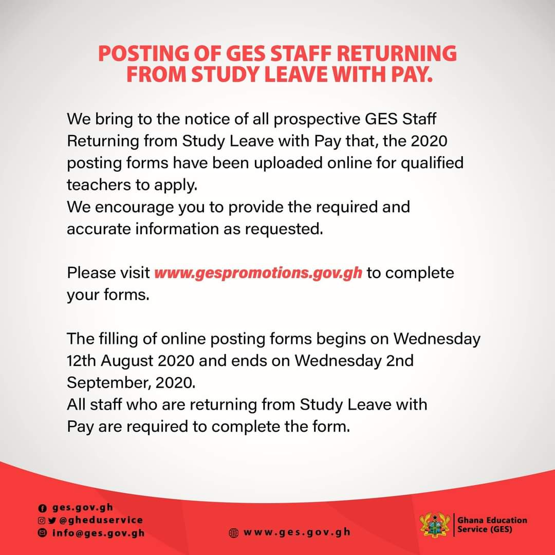 2020 Postings: GES begins Posting of Staff returning from Study Leave with Pay 1