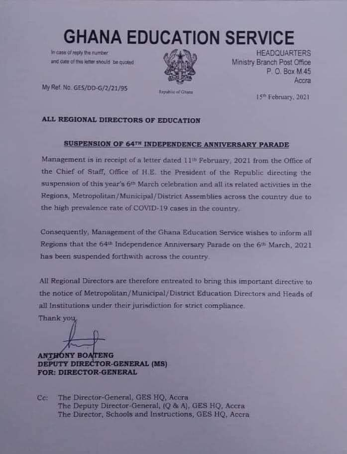 64th Independence Day Parade suspended - GES 1