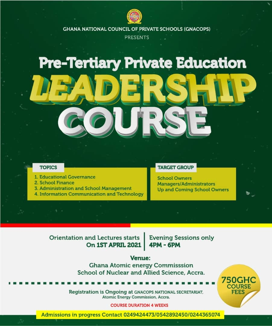 One-month intensive leadership education course for private school owners and administrators begins April 1 - APPLY HERE 1