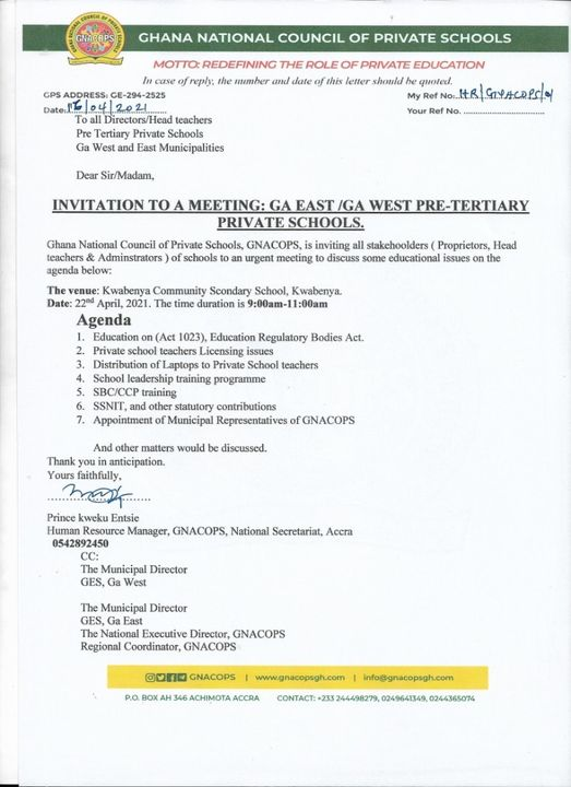 Meeting scheduled for discussing Licensing of Private School Teachers, Laptop distribution 1