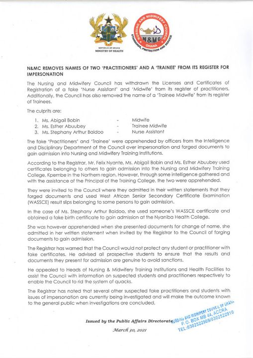 Licenses of 2 Fake Nurses, trainee withdrawn from Nursing and Midwifery Council Membership 1