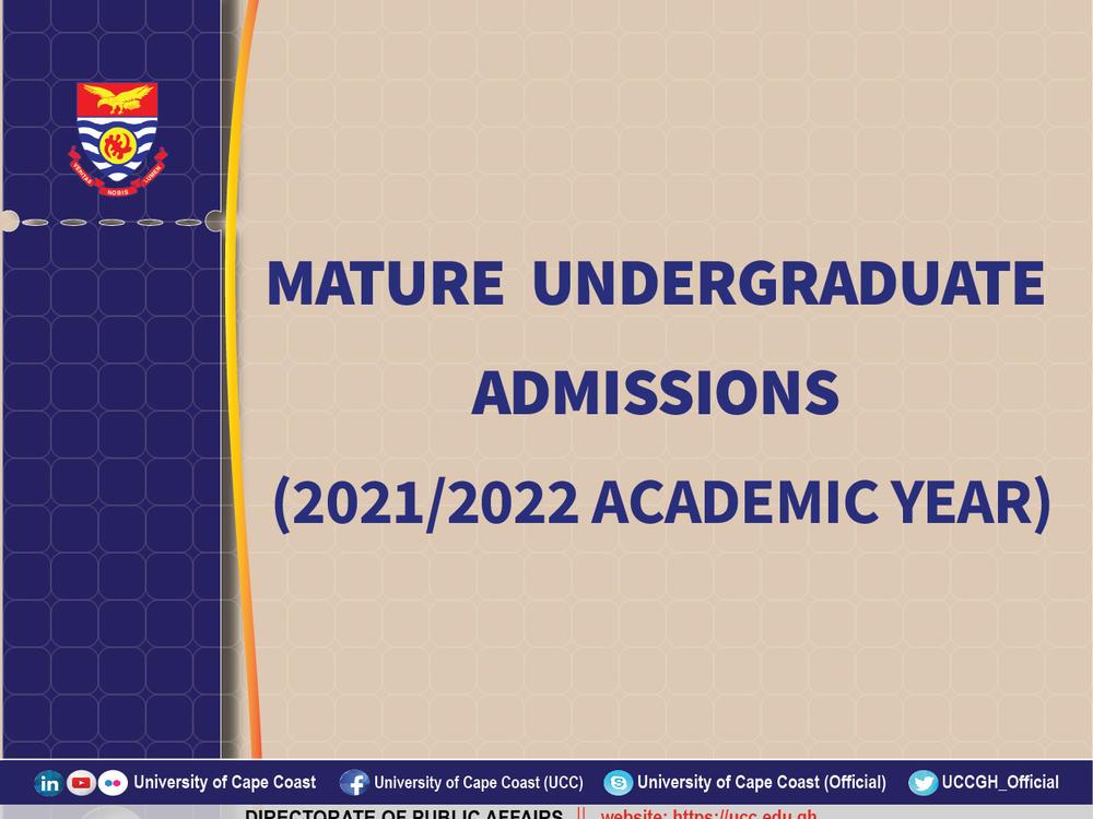 UCC Mature Undergraduate Admissions for 2021/22 Academic Year