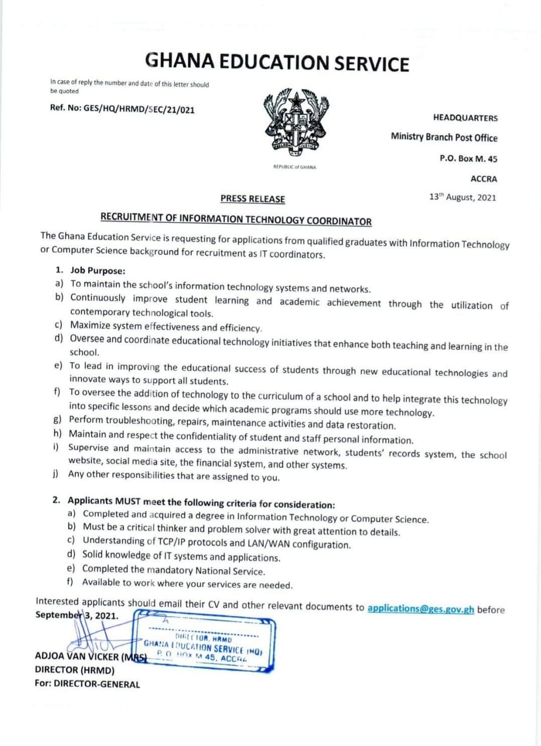 GES announces vacancy for ICT Coordinators in Schools | 1
