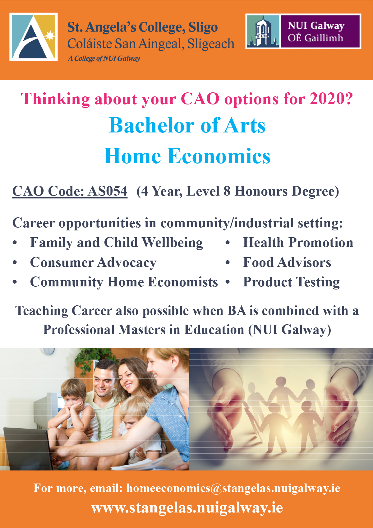 Bachelor of Arts Home Economics – August 2019 – quarter page ad.