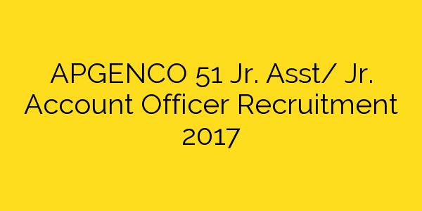 APGENCO 51 Jr. Asst/ Jr. Account Officer Recruitment 2017