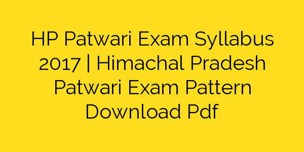 Patwari Mains Syllabus Pdf