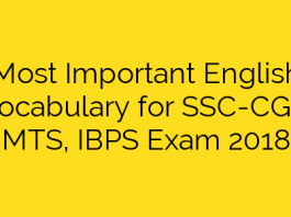 Most Important English Vocabulary for SSC-CGL, MTS, IBPS Exam 2018