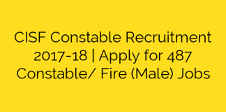 CISF Constable Recruitment 2017-18 | Apply for 487 Constable/ Fire (Male) Jobs