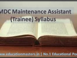 NMDC Maintenance Assistant (Trainee) Syllabus