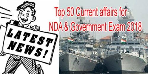 current affairs for NDA & Govt. Exam