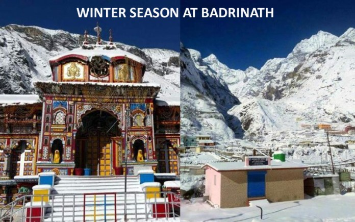 winter scene at badrinath