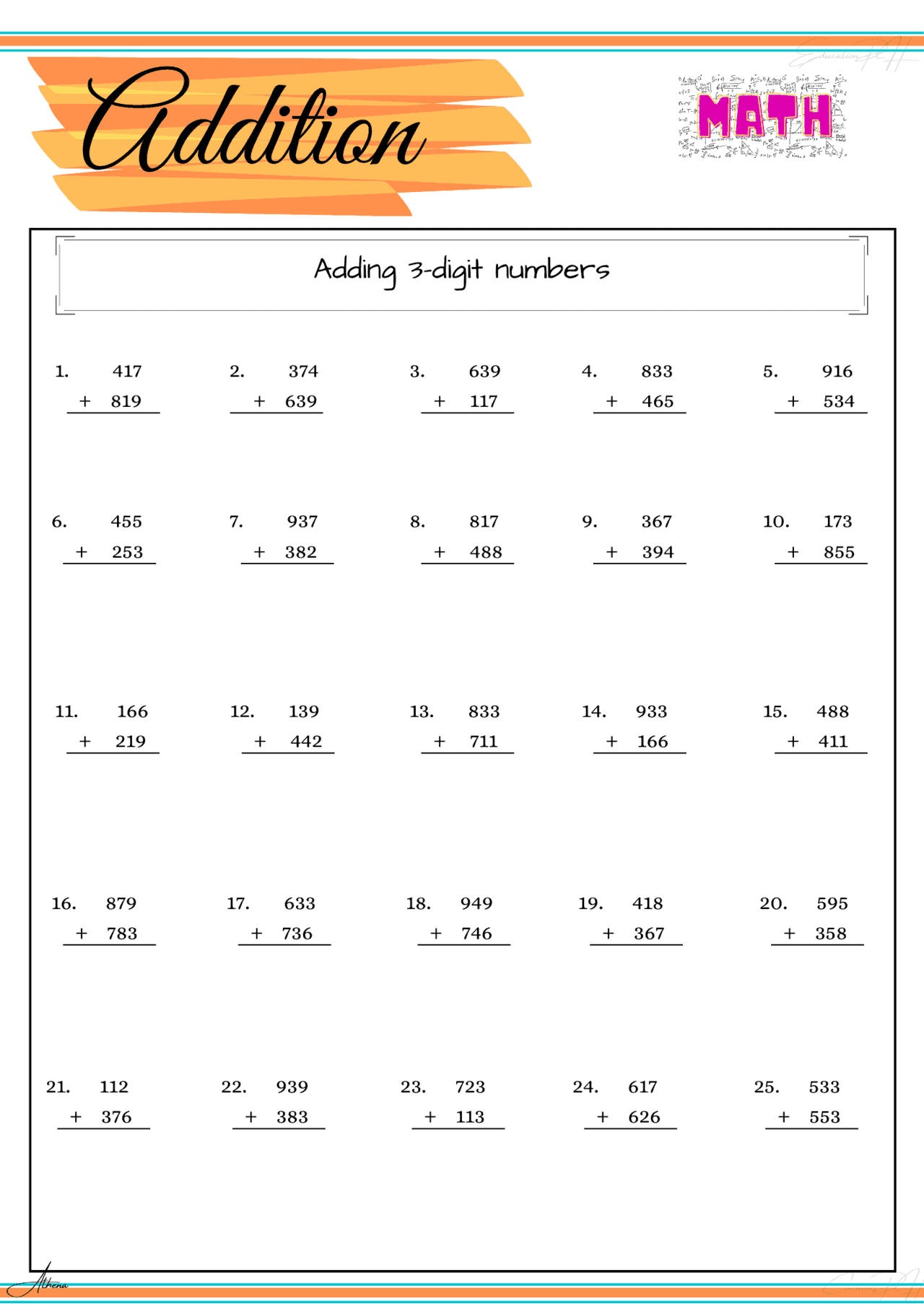 Grade 4 Math Worksheet Addition Part 1