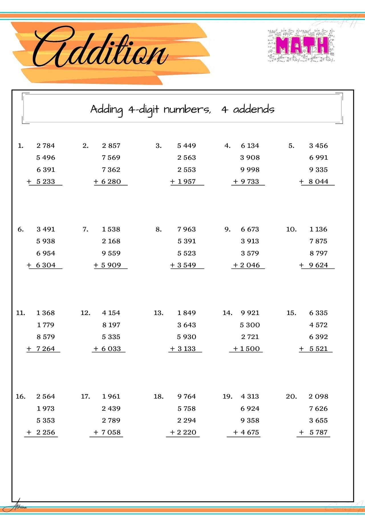 Grade 4 Math Worksheet   Addition Part 3 - Education PH [ 2000 x 1414 Pixel ]