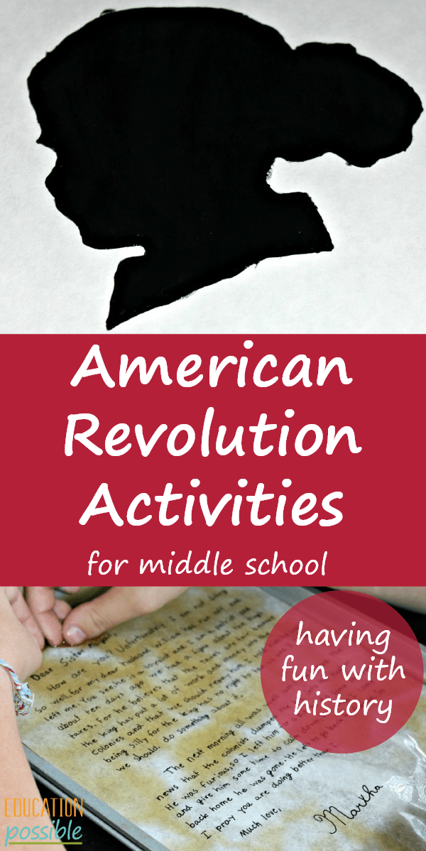 Top of pin is a silhouette of a doll's head and the bottom of the image is a piece of paper in a pan wet with tea. In the middle is a red rectangle with text inside American Revolution Activities for Middle School.