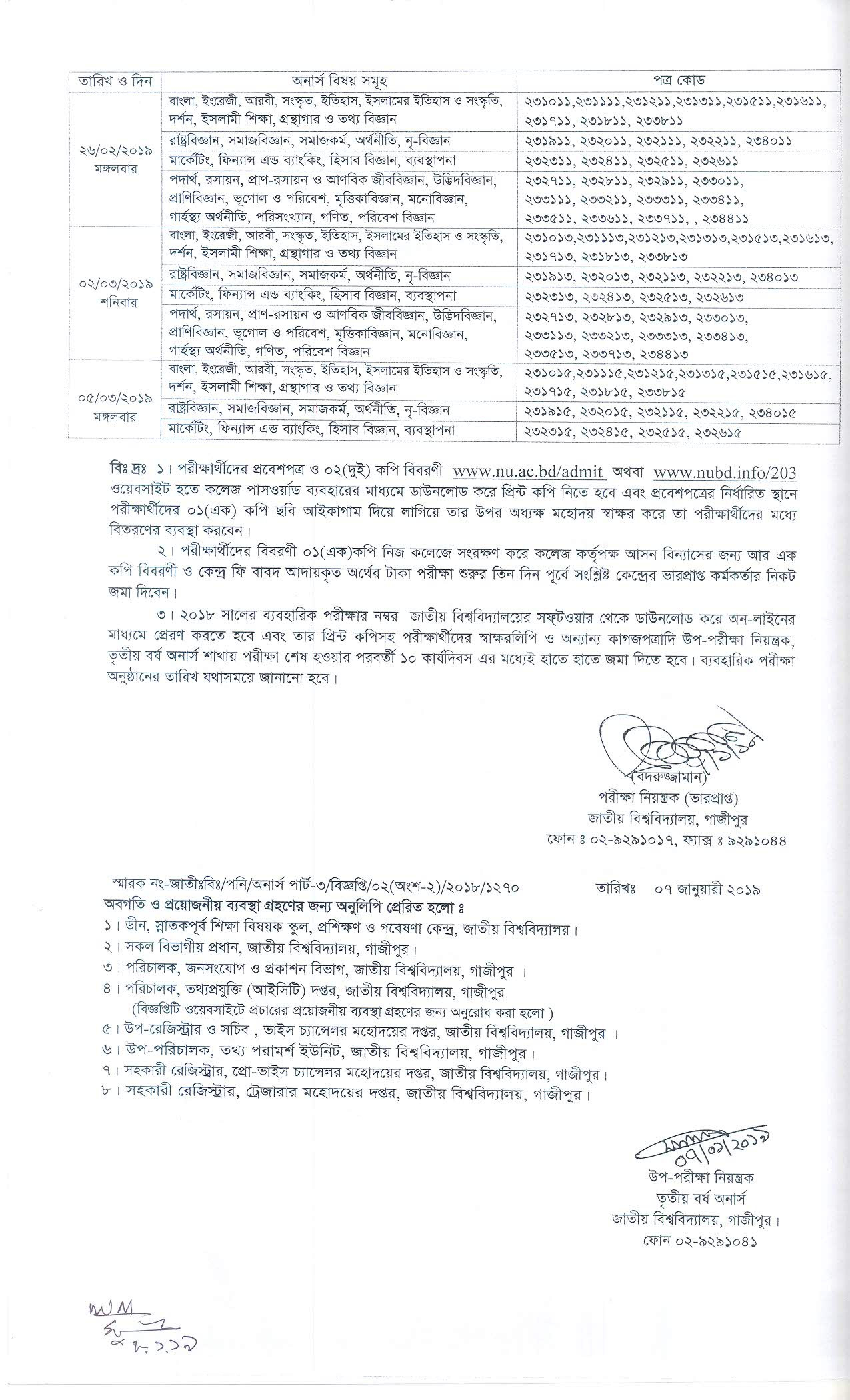 National University Honours 3rd Year Exam Routine 2018