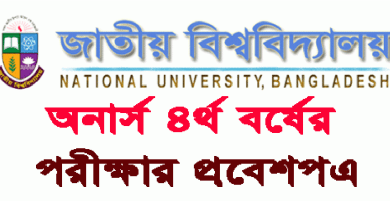 Nu Honours 4th year Admit Card National University NU Honours 4th year Exam Admit Card 2018 www.nu.edu.bd