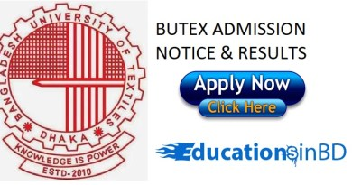 BUTEX Admission Test Notice & Result For Session 2018-2019 - www.butex.edu.bd
