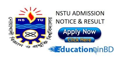 NSTU Admission Test Notice Result For Session 2018-2019 www.nstu.edu.bd