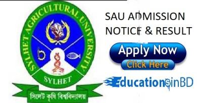Sylhet Agricultural University Admission Test Notice Result 2018-19 www.sau.ac.bd