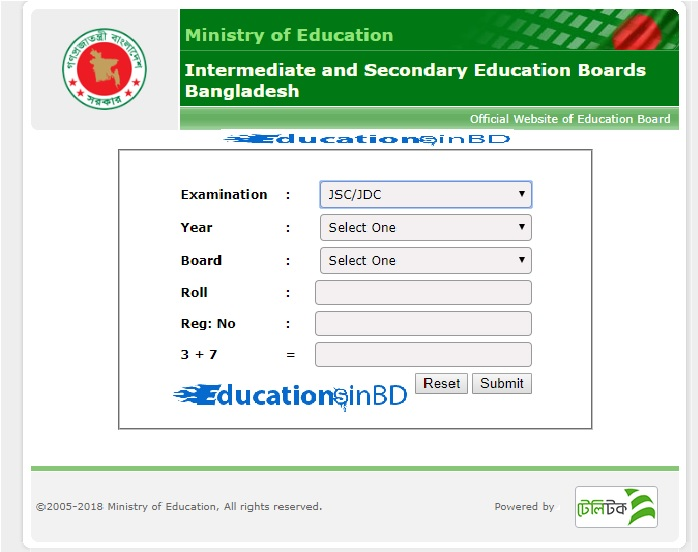 JSC Result 2018 Check Without Registration Number?