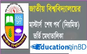 National University Masters Admission Result 2018