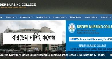 Birdem Nursing College Admission Circular Result 2018-2019