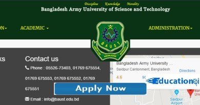 baust Bangladesh Army University of Science and Technology Admission Circular Result 2019