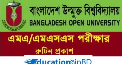 Bangladesh Open University Masters Routine Notice 2019
