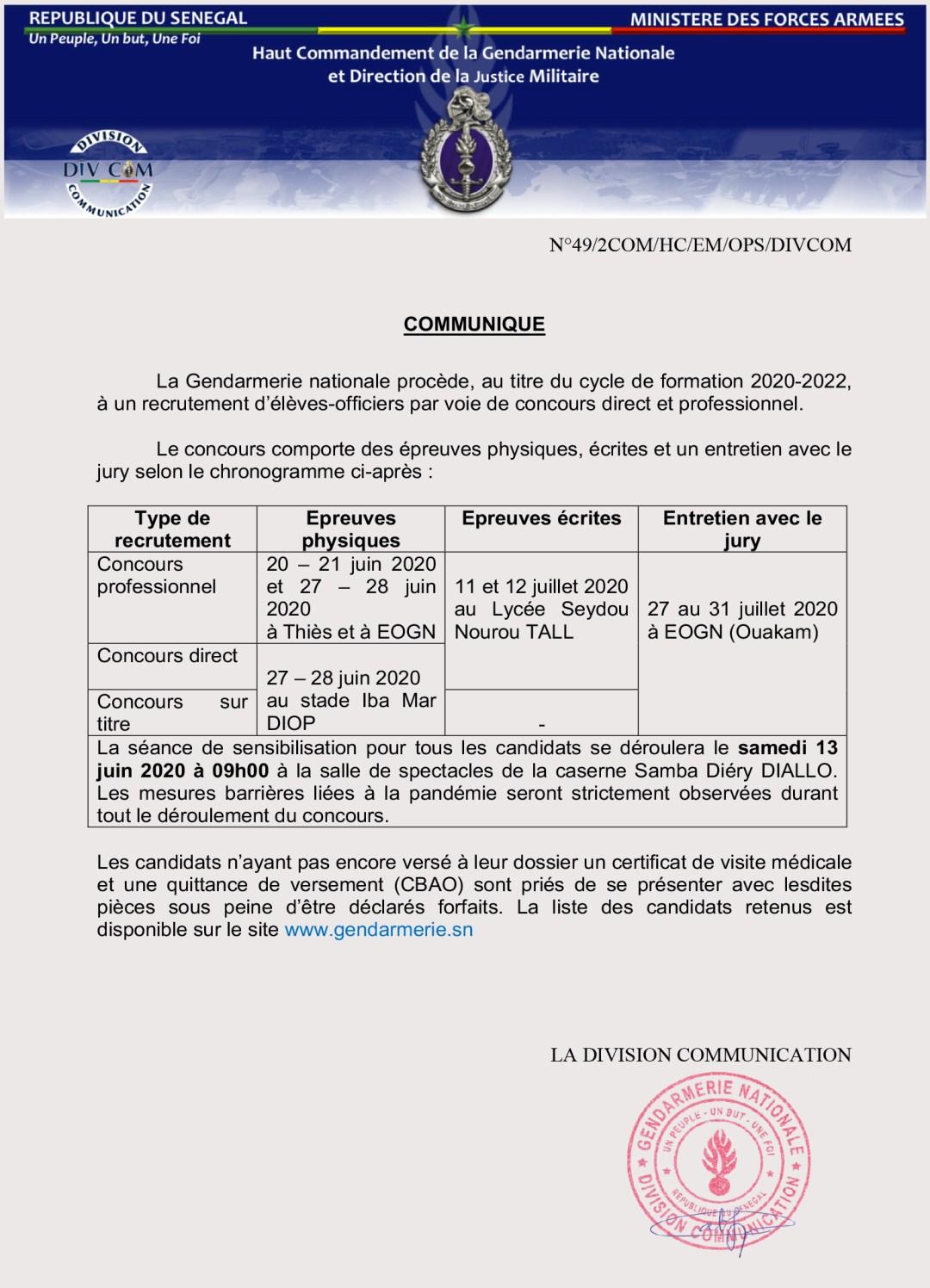 Calendrier des Épreuves Direct du CONCOURS GENDARMERIE NATIONALE