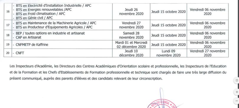 Calendrier dates des concours professionnels ; Session 2020 - Sénégal  Education