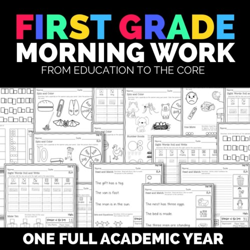 small resolution of Morning Work Bundle for First Grade   Education to the Core