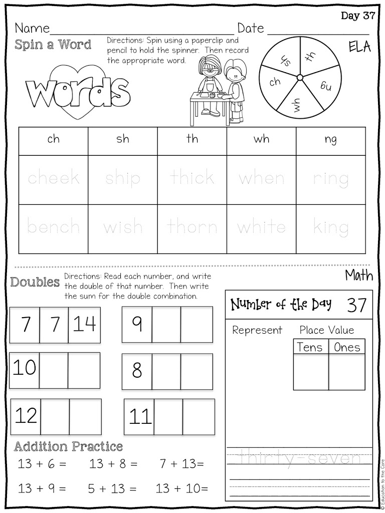 hight resolution of Morning Work Bundle for First Grade   Education to the Core