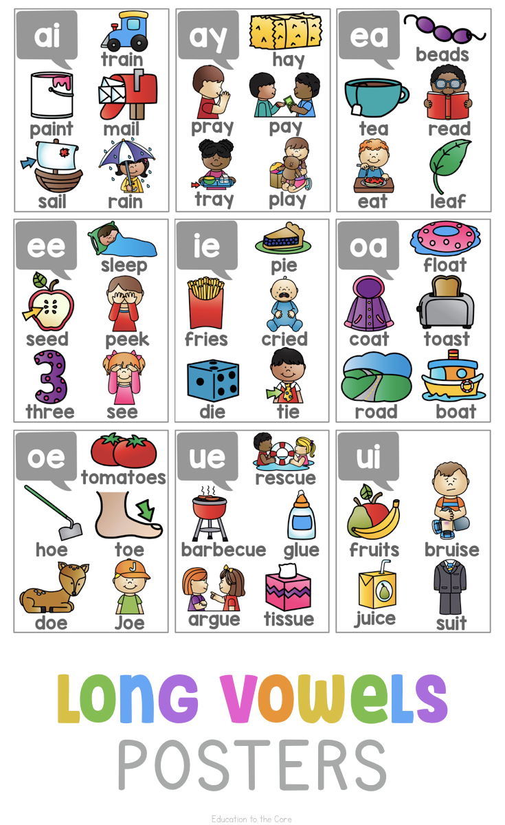 hight resolution of Long Vowels Posters   Education to the Core