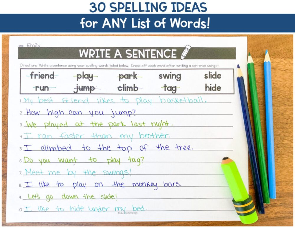 medium resolution of 30 Spelling Activities for ANY List of Words   Education to the Core