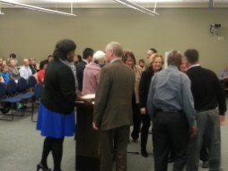 Honorees meeting with School Board