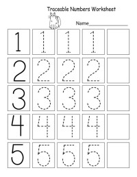 Trace Number Worksheets for Preschoolers