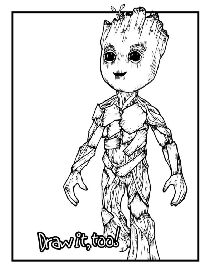 Baby Groot Coloring Page Templates Educative Printable