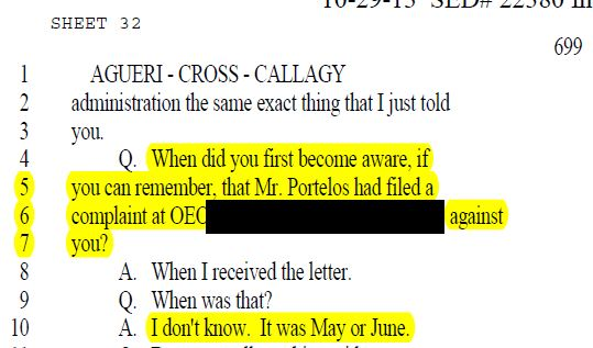 AP Joanne Aguirre stating she was not aware about the allegation until May or June.