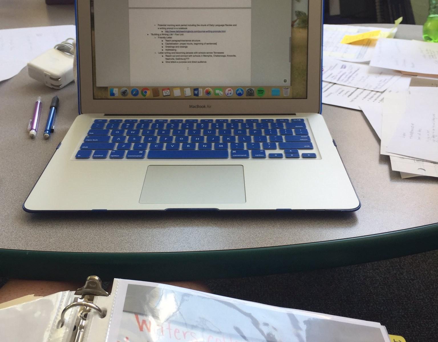 Teacher's Laptop for Lesson Planning