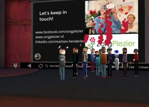Tom Furness with audience during keynote at Educators in VR International Summit.
