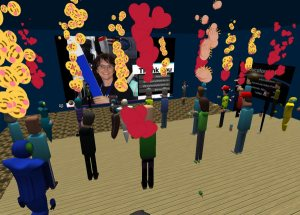 Cheering audience in presentation at Educators in VR.