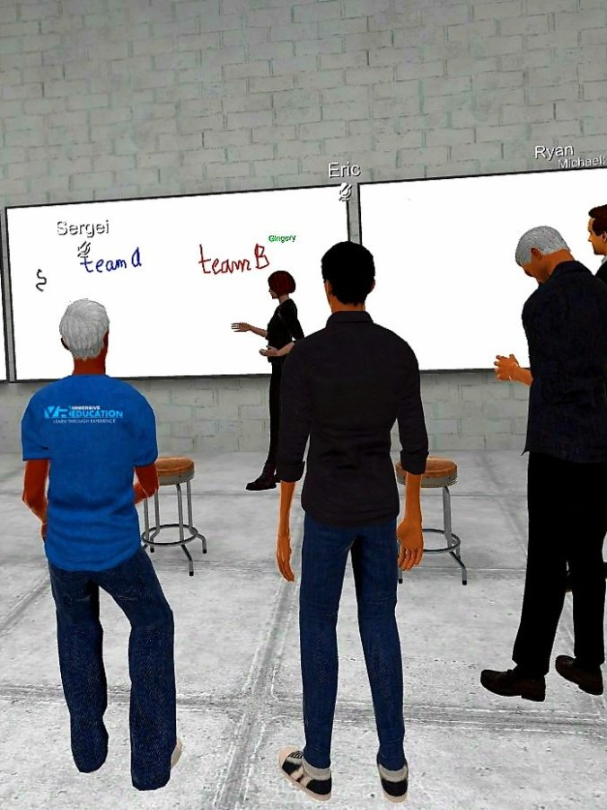 Gold Lotus teaching English language teaching techniques in ENGAGE VR with white board.