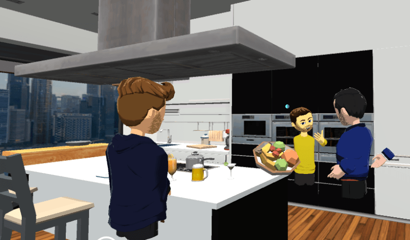Gold Lotus English Language Class - in the kitchen with fruit discussing food in AltspaceVR.